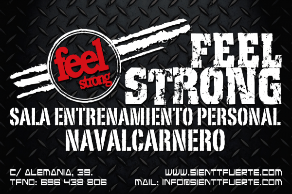 Diseño Feel Strong Sienttfuerte folleto a5 sala de entrenamiento en navalcarnero por delivertia marketing